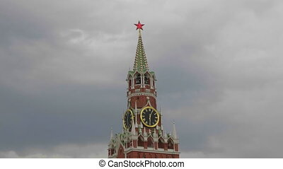 Moscow Kremlin Main Clock named Kuranti on Spasskaya Tower. Red Square.