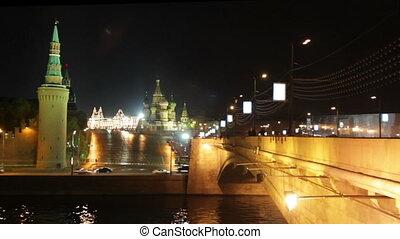 Moscow Kremlin night landscape - timelapse
