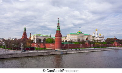 Moscow Kremlin on a cloudy day.