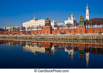 Moscow Kremlin - The red brick walls of famous Kremlin in...