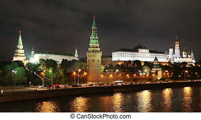 Moscow Kremlin river at night - timelapse