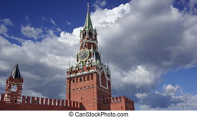 Moscow Kremlin, Russia. Spasskaya Tower against the moving clouds. UNESCO World Heritage Site