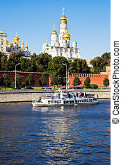 Moscow Kremlin - Famous Moscow Kremlin and Moskva river,...