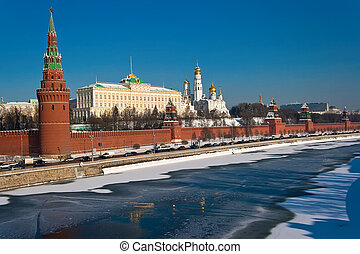 Moscow Kremlin - Beautiful view of Moscow Kremlin and Moskva...