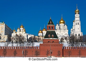 Moscow Kremlin - Beautiful view of Moscow Kremlin walls,...