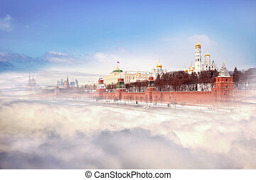 Moscow, Kremlin, the collage - View of the Moscow Kremlin...
