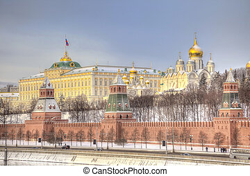 View of the Moscow Kremlin and the belfry of Ivan the Great