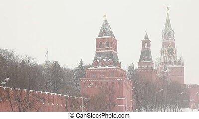 Moscow Kremlin's towers under huge snowfall
