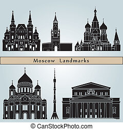 Moscow landmarks and monuments isolated on blue background...