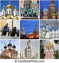 Moscow landmarks collage - Collage of landmarks of Moscow,...