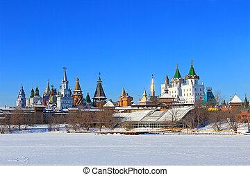 Moscow winter landscape. Beautiful Kremlin in Izmailovo.