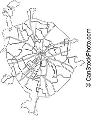 Moscow map - Moscow vector map - contour outline...