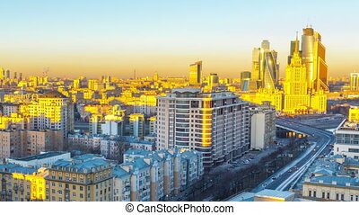 MOSCOW - March 16: (Timelapse) Night traffic ground view of Novy Arbat, March 16, 2015 in  Russia. New Arbat Avenue is major street in Moscow running west from Arbat Square to Novoarbatsky Bridge