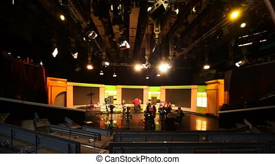 Filming TV Show in Ostankino TV center, studio NTV - MOSCOW...