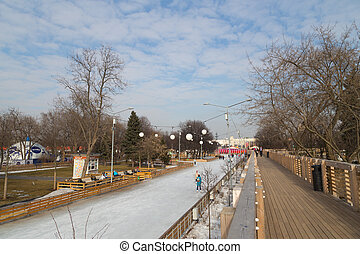 artificial ice rink in winter