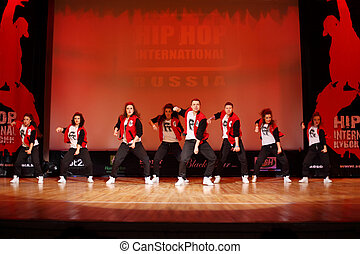 MOSCOW - MARCH 27: F-team dance at Hip Hop International Cup of Russia 2011, on March 27, 2011 in Moscow, Russia. Main prize is $1000 for each team member and organization of trip to Las Vegas.