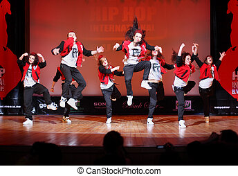 MOSCOW - MARCH 27: F-team group dance at Hip Hop...