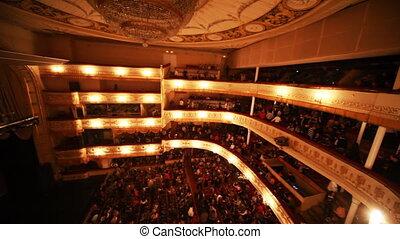 People leave on break in operetta Graph Monte Cristo at Moscow Operetta Theater