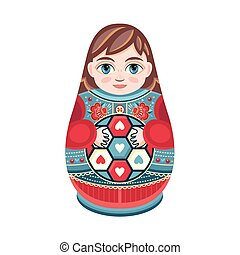 Moscow matreshka. Boy Color figurine design element. Slavic...