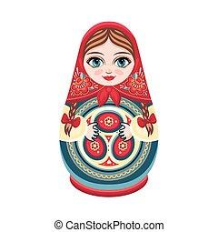 Moscow matreshka. Color figurine design element. Slavic...