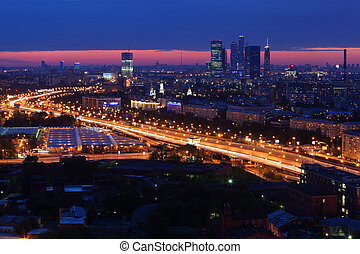 """MOSCOW - MAY 15: Moscow City complex, on May 15, 2011 in Moscow, Russia. Owner of """"Flow of infinity"""" plans that both towers Federation in business center Moscow City will be completed within 2 years."""