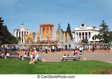 MOSCOW - MAY 15: People near fountain of nations friendship...