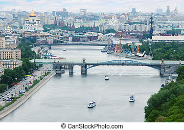 MOSCOW - MAY 15: Pushkinsky bridge, on May 15, 2011 in Moscow, Russia. Pushkinsky bridge was built in 2000 with the construction of the old Andreevsky Bridge, which was built between 1905 and 1907.