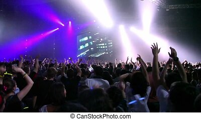 Crowd at rave party - MOSCOW - MAY 6: Crowd at rave party, ...