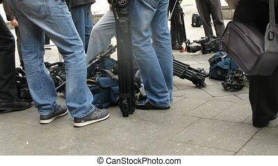 TV channel cameramen wait for van Buuren arrival at RUSSIA Concert Hall