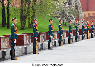 MOSCOW - MAY 8: Row of soldiers at laying of wreaths at tomb...
