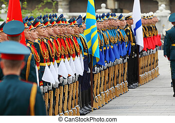 MOSCOW - MAY 8: Rows of beautiful soldiers at ceremony of wreath laying at tomb of Unknown Soldier at Victory Day celebrations, on May 8, 2011, Moscow, Russia.