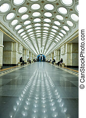 The interior of metro station in Moscow, Russia