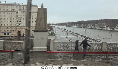 Moscow. Moscow River. View from the bridge to the neighborhood of the city. Shooting in motion.