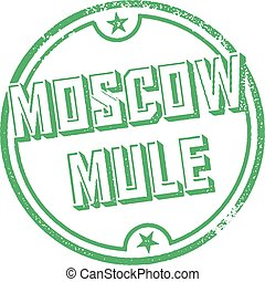 Moscow Mule Cocktail Stamp - Vintage style bar menu stamp...