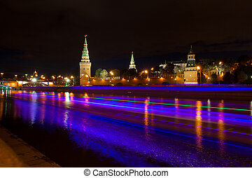 Moscow night Kremlin view