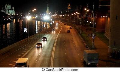 Moscow night road near Kremlin