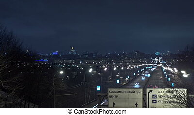 Moscow night urban view. Time Lapse.