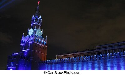 MOSCOW - OCT 21: (Timelapse View) Spassky tower stands against night sky on festival CIRCLE OF LIGHT on Red Square, on Oct 21, 2011 in Moscow, Russia