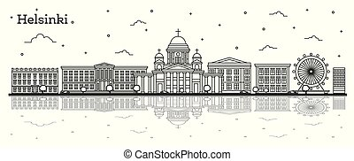 moscow outline bold - Outline Helsinki Finland City Skyline ...