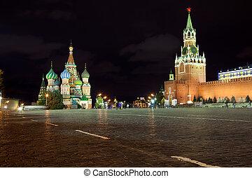 moscow., quadrato, russia, rosso