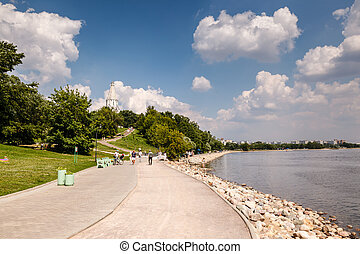 Moscow River and Church of the Ascension in Kolomenskoye, Moscow, Russia