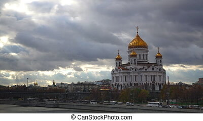 Moscow river and the cathedral of Christ the Savior time lapse video
