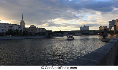 Moscow river at sunset
