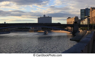 Moscow river in the rays of the setting sun - View of the...