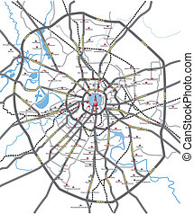 Moscow roads map - Map of main roads and subway station...