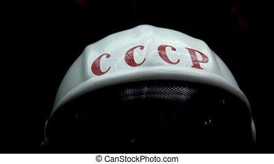 Space helmet in display in The Memorial Museum of Cosmonautics