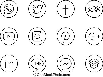 Moscow, Russia - April 20, 2017: Collection of lineart black round social media icons printed on paper: Facebook, Twitter, Instagram, LinkedIn, and others