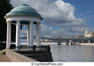 Moscow, Russia, arbor in the form of a rotunda on the bank of the Moskva River
