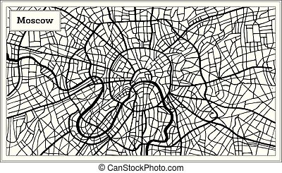 Moscow Russia City Map in Black and White Color. Hand Drawn....