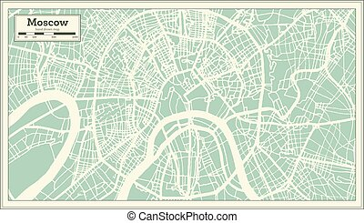 Moscow Russia City Map in Retro Style. Outline Map. Vector...